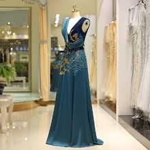 Beauty-Emily 2018 Vintage blue Evening Dresses prom dress