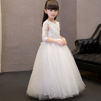 Kid party pageant Beautiful fairy dress tulle evening girl embroidery lace sequin wedding ball gowns 2018 princess floral dress