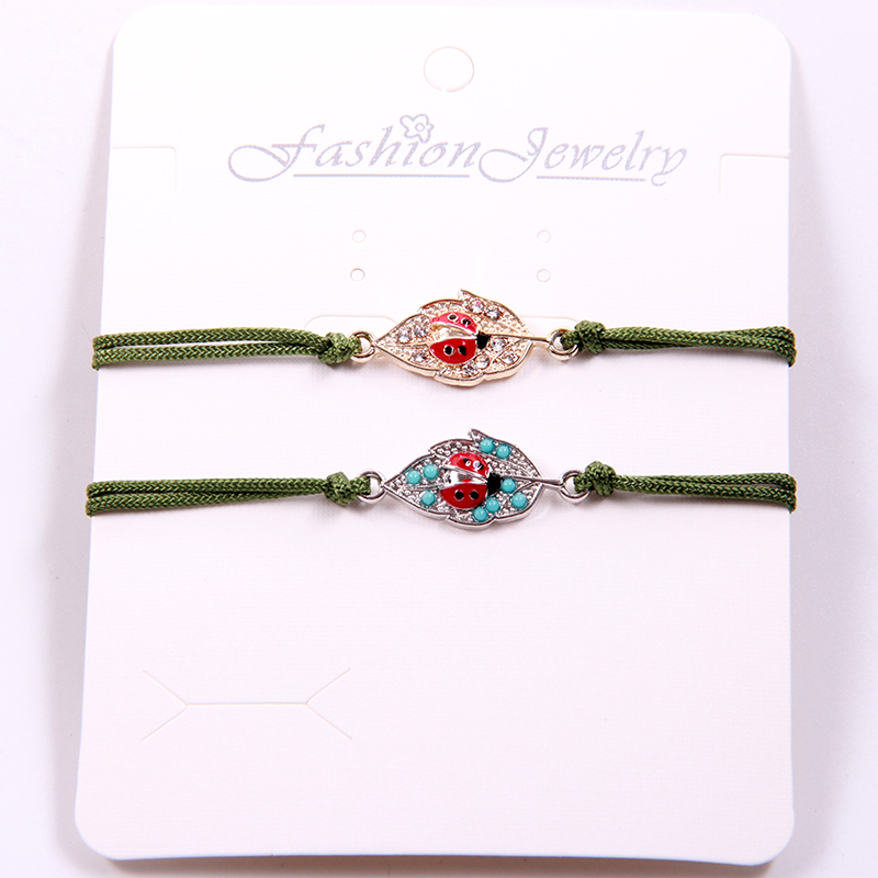 Special Birthday Gift Jewelry Leaf Ladybug Bracelet Bangles Valentine's Day Couple Bracelets For Lovers Men Women Children 2pcs