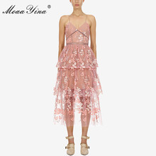 MoaaYina Summer Women Spaghetti Strap Mesh Sequin Sexy Party Backless Elegant Dresses Fashion Designer Runway dress все цены
