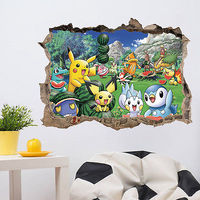 Cute Pokemon Wall Sticker 3D Visual Pikachu Park View Mural PVC Decals Kids Room Decor