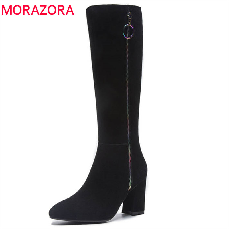 MORAZORA 2018 top quality suede leather boots women pointed toe autumn winter boots fashion zipper high heels knee high boots morazora new china s style knee high boots flowers embroidery spring autumn boots for women zipper cow suede med heels boots