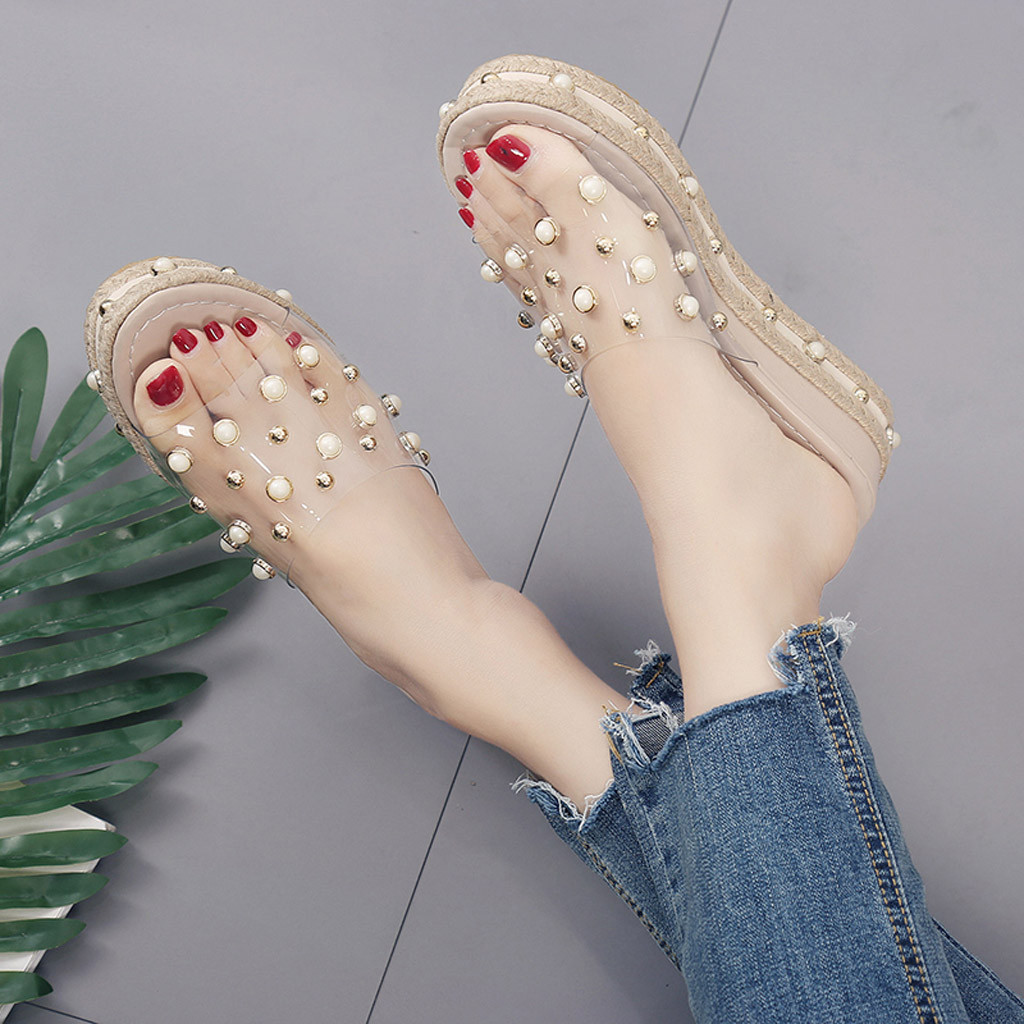 HTB1Uf JaQL0gK0jSZFAq6AA9pXaC Fashion Jelly Sandals Summer Candy Slippers Woman Shoes Flats Ladies Womens Zapatos Mujer Slip On Pearl Beach Wedges Jelly Shoe