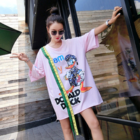 2018 summer new European goods large size women's clothing trend heavy embroidery beaded long ladies T shirt short sleeve