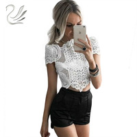 New Arrival 2016 Summer Elegant White Crochet Lace Crop Top Short Sleeve Hollow Out Camisole Women
