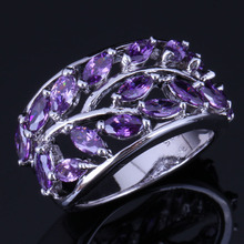 Cheerful Tree Purple Cubic Zirconia 925 Sterling Silver Ring For Women V1062