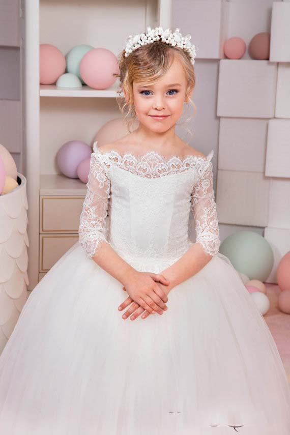 Off the shoulder ivory lace flower girl dresses ball gown puffy tulle little  princess dresses for wedding and party with sleeves - aliexpress.com -  imall. ... 79f424354be3