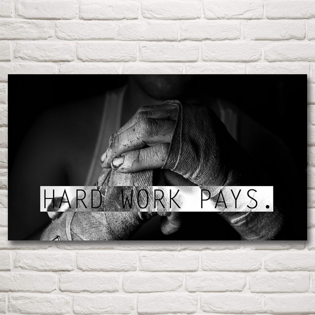 Bodybuilding gyms motivational boxing hands art silk poster gym room