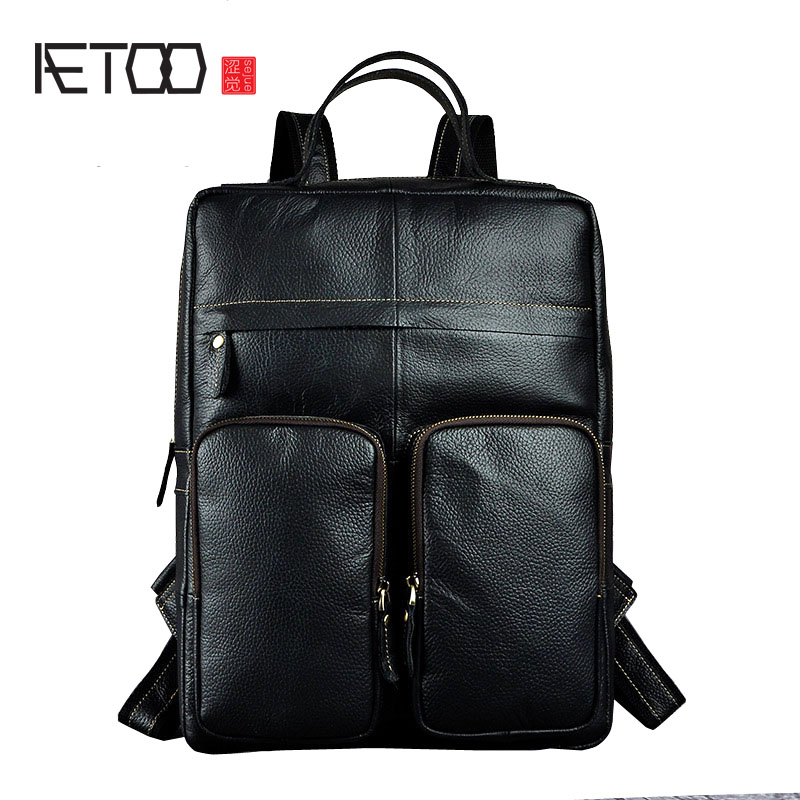 AETOO Crazy Horse Leather European and American men large 15-inch backpack computer bag aetoo crazy horse leather leather classic classic men s 14 inch business portable computer bag