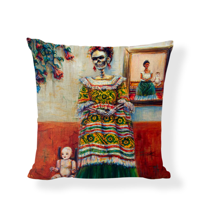 Personalized Sugar Skull Cushion Covers Dancing Women Flower Printed Throw Pillows Case Home Decor Girls Car Beds Painted Gifts