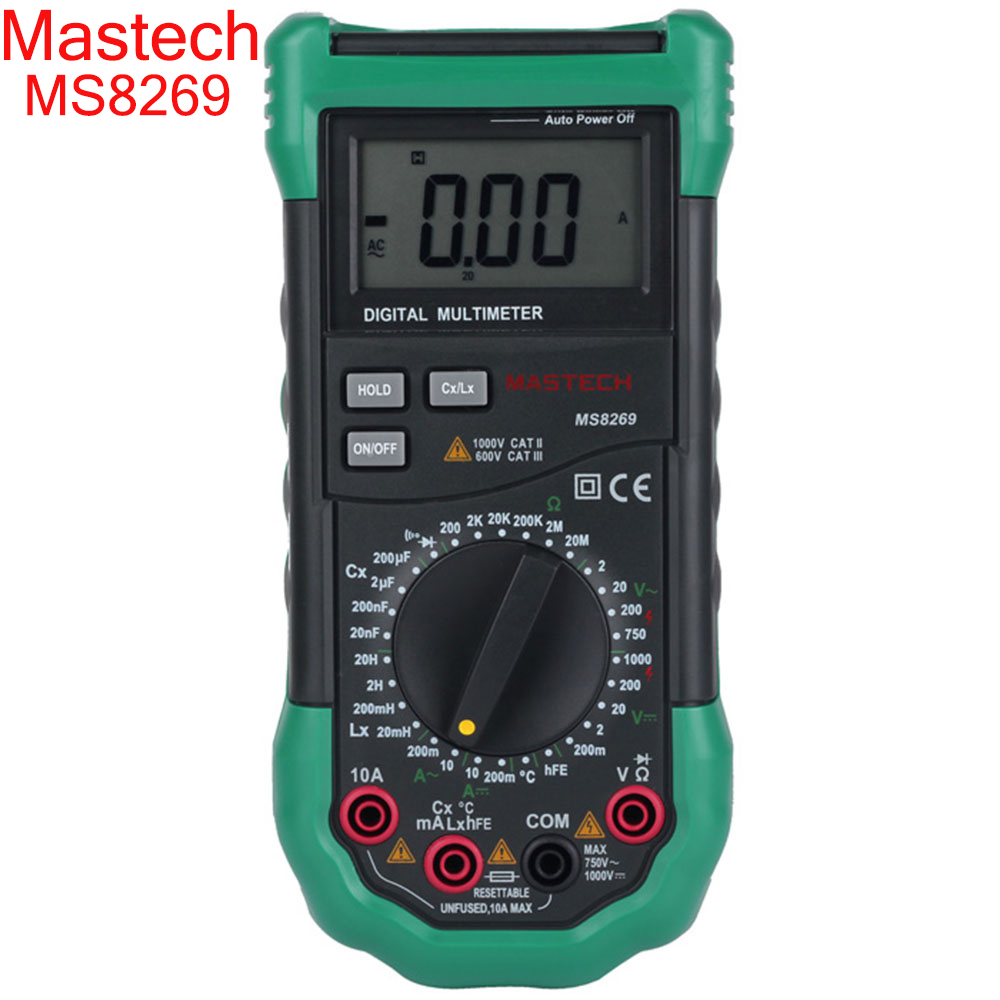 Mastech brand MS8269 3 1/2 Digital Multimeter AC/DC Voltage Current Resistance Capacitance LCR Meter Temperature Inductance Test 1 pcs mastech ms8269 digital auto ranging multimeter dmm test capacitance frequency worldwide store