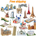 Hot Selling Magic 3D Puzzle Kids Educational Toys DIY Paper Puzzles Jigsaw For Children Adults House Castle Famous Building