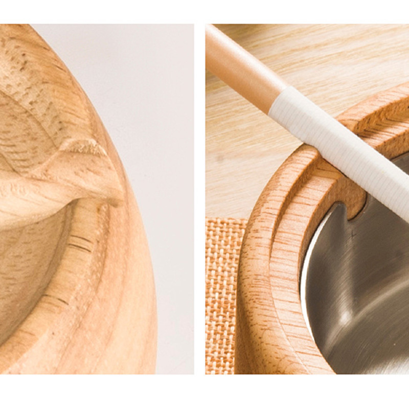 Best Gift Vintage Wood Ashtrays with Lid Removable Stainless Steel Windproof Cigar Ash Holder Smoking Accessories Home Decor in Ashtrays from Home Garden