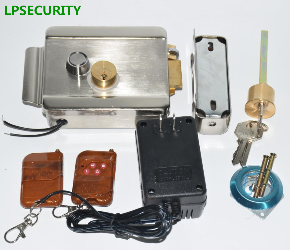 LPSECURITY Gate Electric Door Lock with 2 remote controllers 12V DC power transformer For Access Entry