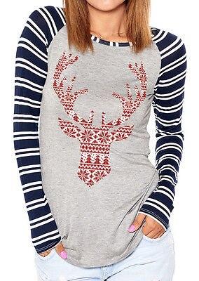 Women Christmas Elk Long Sleeve Geometric Printed Tops Shirt Blouse Shirt Gift