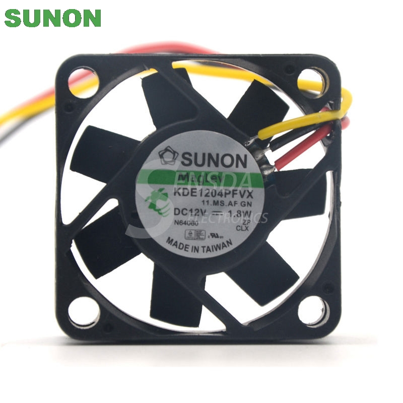 Sunon fan KDE1204PFVX 40*40*10 mm 12V 1.8W with a 3-wire switch server inverter free shipping for sunon gb1207ptv2 a 13 b4396 f gn dc 12v 2 2w 3 wire 3 pin connector 70mm 70x70x25mm server square cooling fan