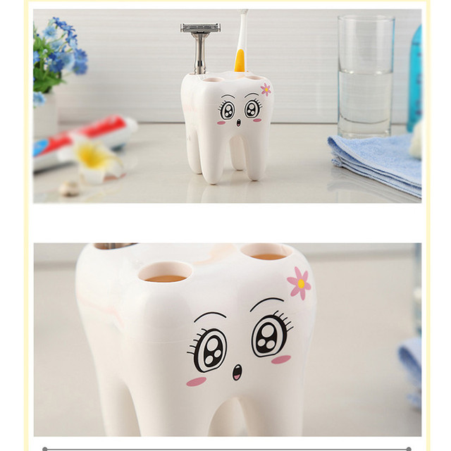 Cartoon Toothbrush Holder Teeth Style 4 Hole Stand Tooth Brush Shelf Bathroom Accessories Sets Bracket Container For Bathroom