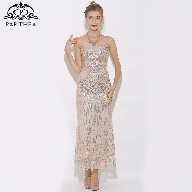 46c99de108ef5 US $28.98 30% OFF|Parthea Strapless Sexy Evening Maxi Dress Women Rose Gold  Mermaid Sequin Dress Metallic Trumpet Party Dresses Vestido 2018 New-in ...