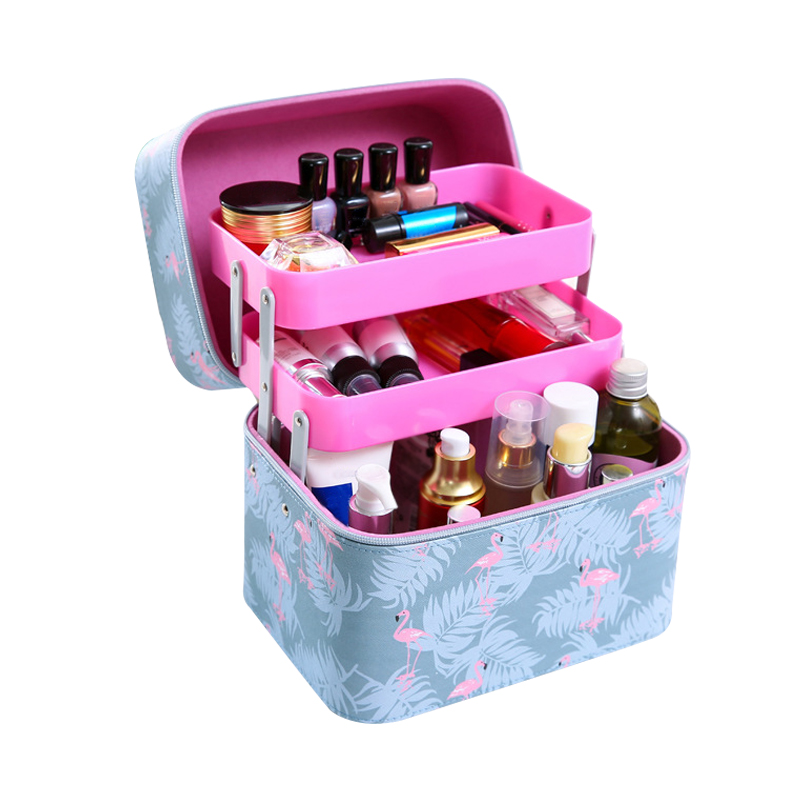 Multi-layer Professional Makeup Organizers Large Capacity Women Travel Flamingo Cosmetic Case Female Jewelry Zipper Container