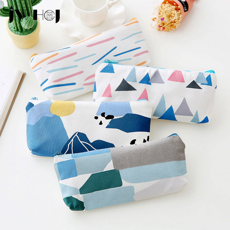 1 pcs  small fresh Forest series Canvas pencil case pencil bag Pouch Purse stationery escolar school supplies Students gift