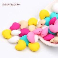 TYRY HU 50pc Silicone Beads Round Heart Baby Teether Bead Food Grade Silicone Teether Beads Baby