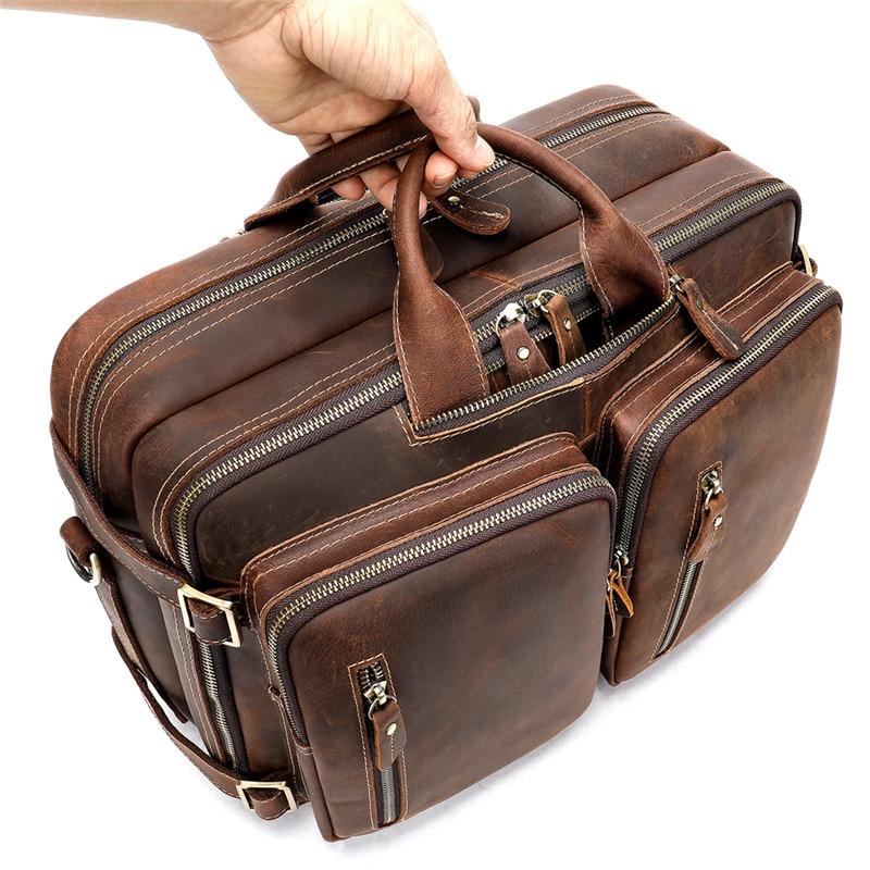 Купить вместительный винтажный мужской кожаный портфель crazy horse