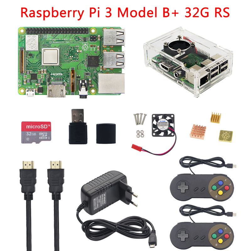 Raspberry Pi 3 Model B+ Plus+Acrylic Case+CPU Fan+16G 32G SD Card+Power Adapter+2 Gamepads+HDMI Cable+Heat Sink for RetroPie