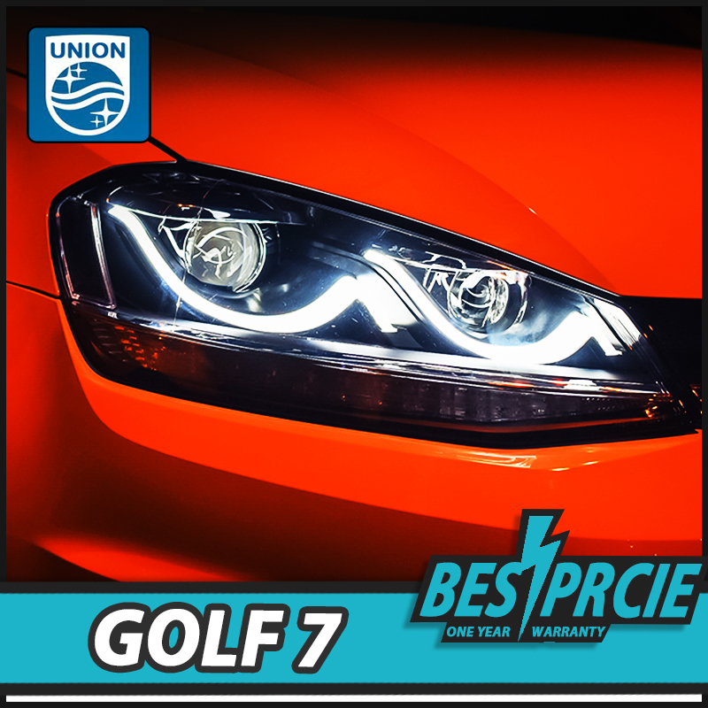 UNION Car Styling for VW Golf 7 Headlights Golf7 MK7 LED Headlight LED DRL Lens Double Beam H7 HID Bi-Xenon Car Accessories pair of headlight assembly for vw golf 5 suitable for halogen bulbs and led headlights