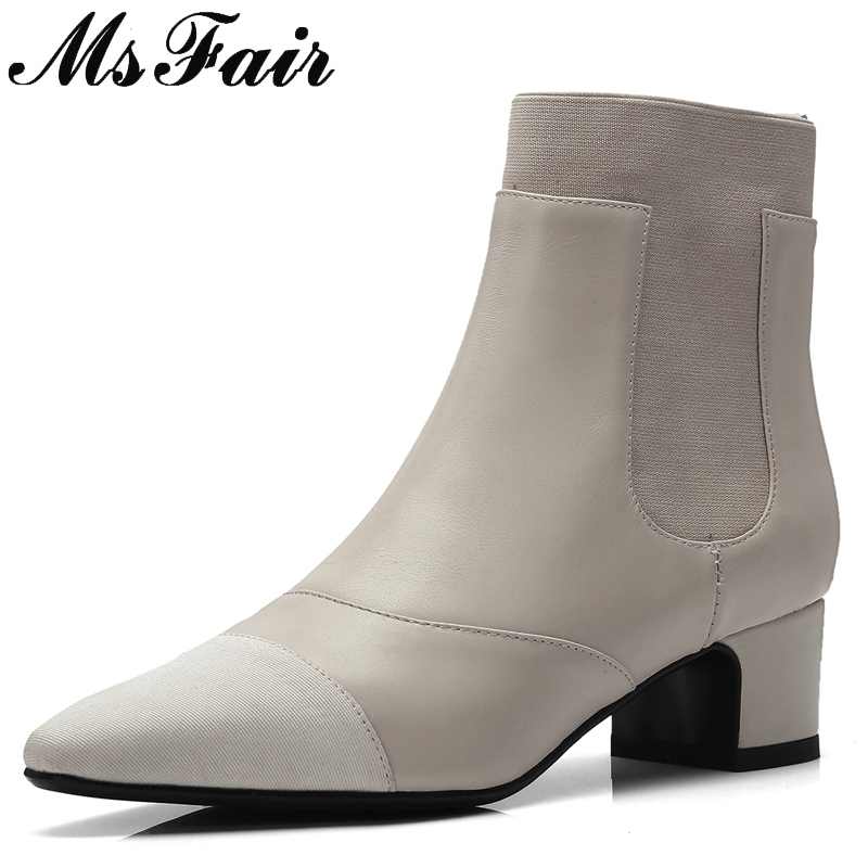 MSFAIR Pointed Toe Square heel Women Boots Fashion Med Heel Black Beige Ankle Boots Winter Short Plush Elegant Boots Women Shoes