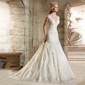 Don's Bridal Wedding 2016 New Elegant Lace Sexy V Neck Mermaid Bride Dresses Marriage Gown