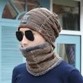 [Dexing]2016 Brand 2 pieces Knit Men Winter Hat Caps+scarf Skullies Bonnet For Men Women Beanie Fur Warm Baggy Wool Knitted Hat
