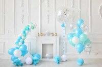 Süslemeleri Tatil Mavi Ve Beyaz Balonlar odası arka planında Vinil kumaş Yüksek kaliteli Bilgisayar baskı parti arka plan