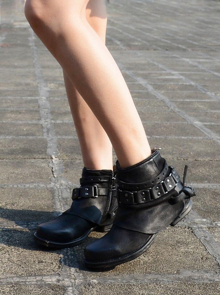 Plush Talons Femme Bottines Cuir Boucle Lining Vache En D'hiver Rétro Bottes Black Carrés Vintage Pour Botas Bas Véritable black Femmes Chaussures Mujer X8vwqFR