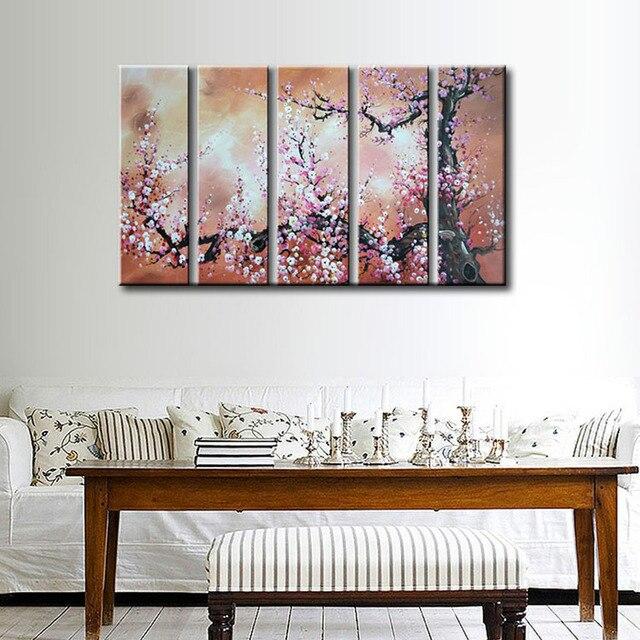 EVERFUN ARTE Enmarcado pintado a Mano Chino flor Flor de Cerezo ...