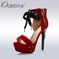 Odetina 2017 Fashion Faux Suede Womens Ankle Wrap Sandals Super High Heels Ladies Shoes Lace Up