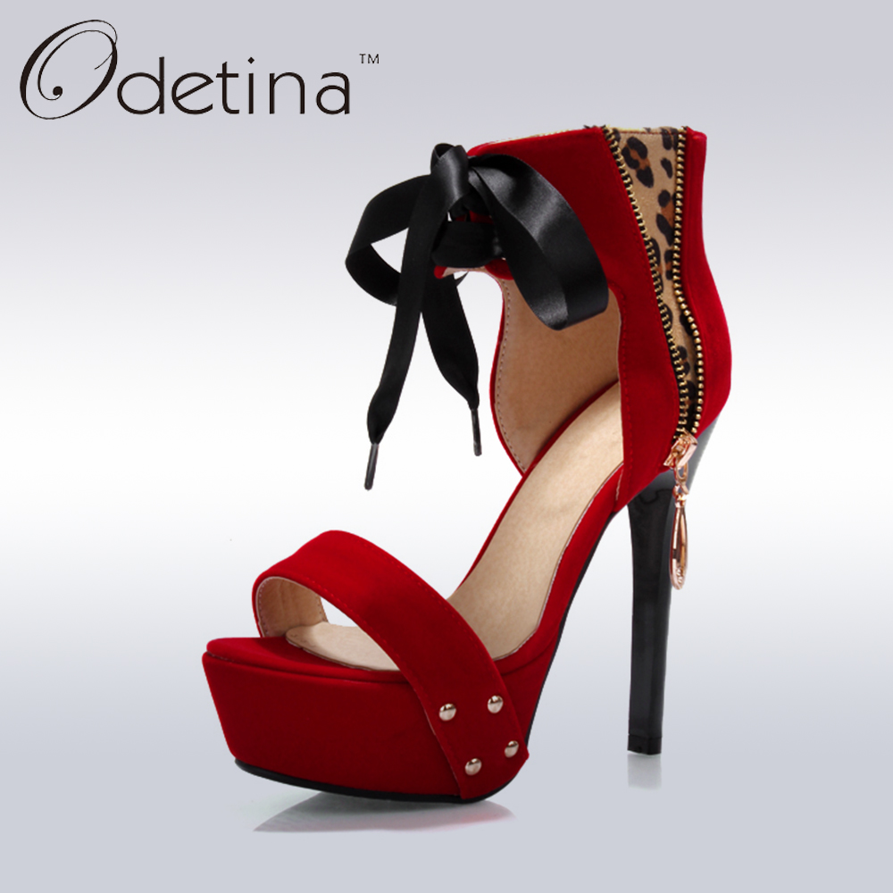 Odetina 2017 Fashion Faux Suede Womens Ankle Wrap Sandals Super High Heels Ladies Shoes Lace Up Stiletto Heel Platform Sandals moruancle fashion womens lace up denim pants skinny pencil jeans trousers for ladies hollow out ankle length slim fit size s l