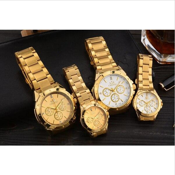 CHENXI Lovers Couple Quartz Watches Men Golden Steel Watch Women Elegant WristWatch Simple Luxury Female Male Clock Reloj Mujer