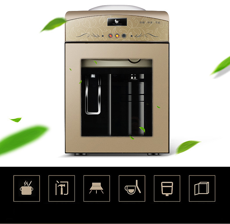 Variety Temperature Mode Desktop Mini Water Dispenser with Night Vision Lamp Office Energy-saving Water Machine with Glass Door drinking fountains home ice hot desktop cooling dormitory small mini energy saving special ice warm water dispenser