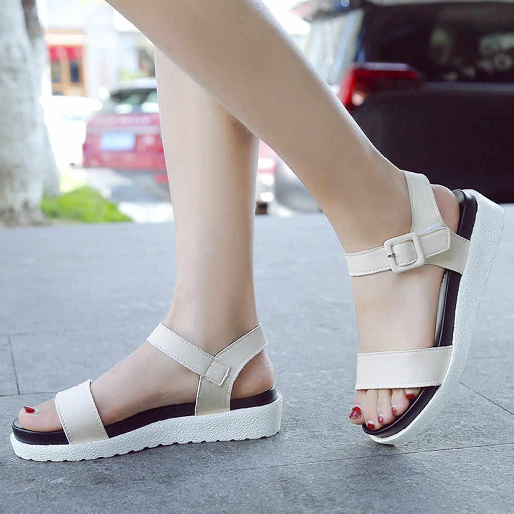 2019 neue frauen schuhe frau peep-toe Schnalle flache Schuh Römischen sandalen zapatos de mujer con tac n bajo alias de mujer tacon bajo