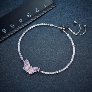 Image 2 - 925 Sterling Silver Butterfly Adjustable Womens Bracelet Girls Crystal Cubic Zirconia Lovely Sweet Style Fashion Jewelry Gift