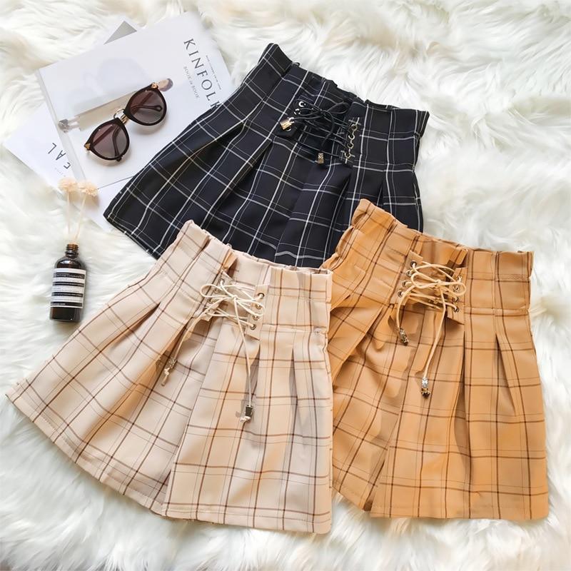 ZOGAA 2019 Harajuku Women Casual Shorts Summer Boyfriend Style Plaid Wide Leg Shorts Woman Elastic Waist Loose Short For Women