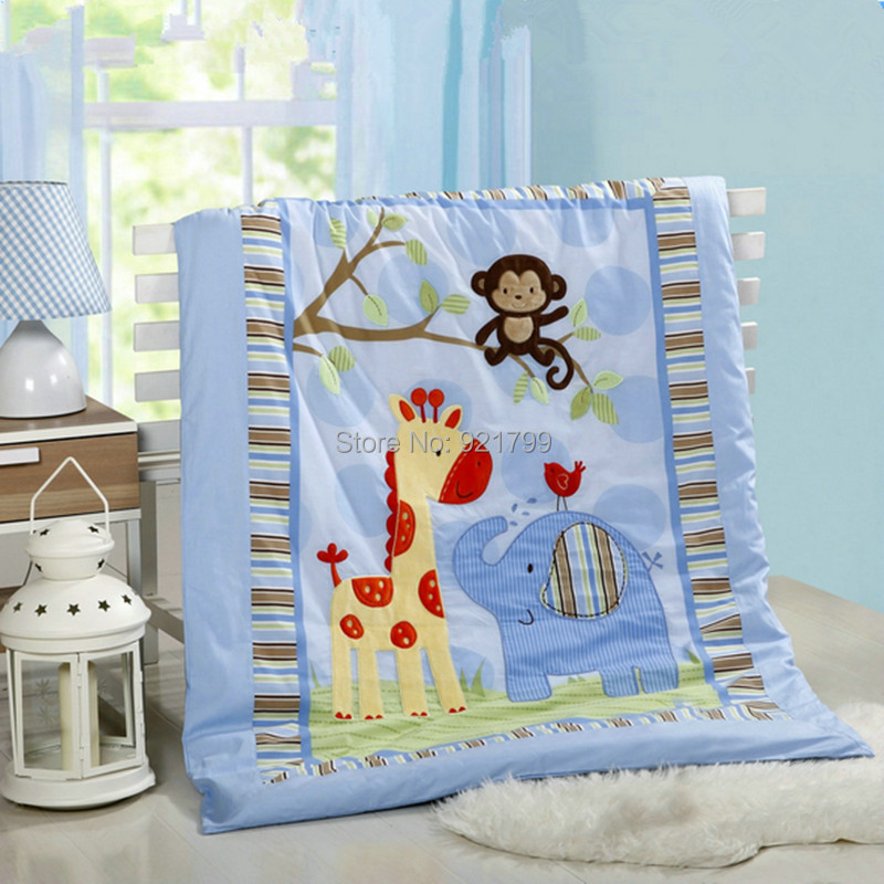 Cotton Cartoon Patch embroidered owl monkey Baby Crib Quilt Newbaby Bedding Stes Thin Air Conditioning Baby Quilt
