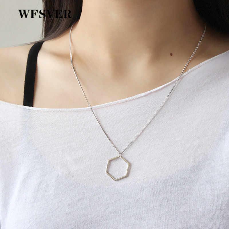 Wfsver 925 Sterling Silver Hexagon Bentuk Liontin Kalung untuk Wanita Geometris Elemen Liontin Kalung Perhiasan Hadiah