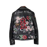 100% women high quality leather jacket embroidery locomotive leather jacket handmade 200 rivet coat Flowers bird pattern outwear