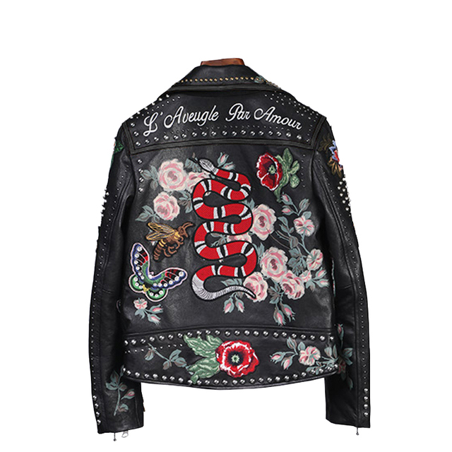100% women high quality leather jacket embroidery locomotive leather jacket handmade 200 rivet coat Flowers bird pattern outwear