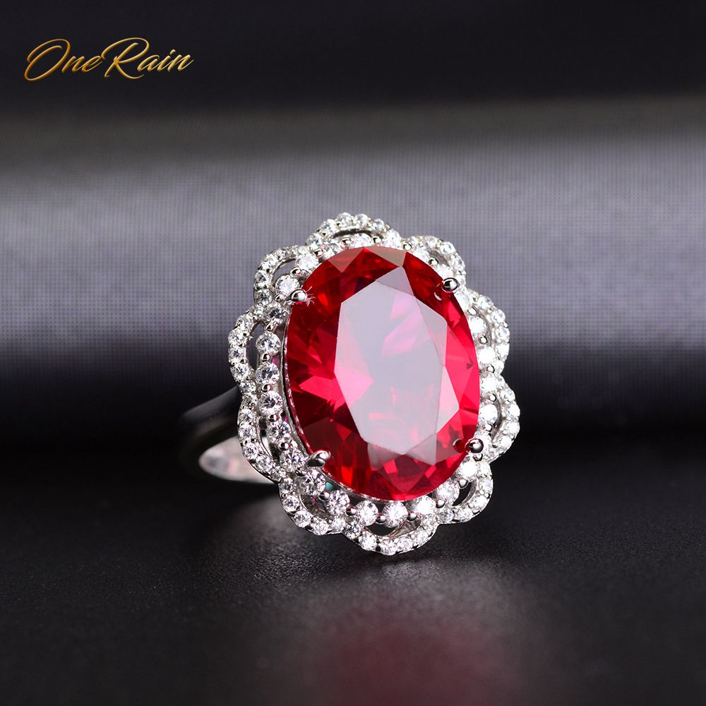 OneRain Luxury 100% 925 Sterling Silver Oval Ruby Sapphire Gemstone Birthstone Wedding Engagement Opening Ring Jewelry Wholesale