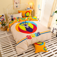 Moderne de Bande Dessinée Mignon Coton Confortable Respirant Quatre Ensembles De Textiles De Maison Couette + Draps + Taies D'oreiller