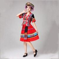 Новый китайский национальный, этнический стиль Одежда для танцев Одежда хмонг Мяо национальная традиционная для девочки, платье для сцены