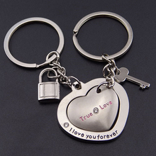 Fashion style Hot sale! 1 Pair New Love Heart Lock Key Chain Ring Keyring Keyfob Lover Couples Gift ABUO