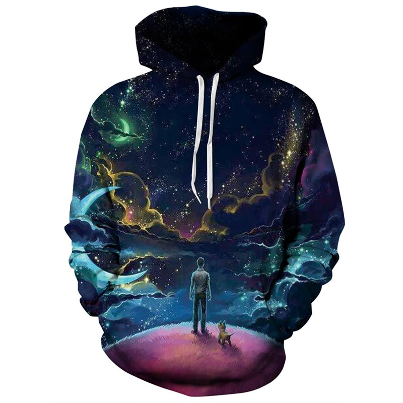 Headbook Colorful Clouds Sky Galaxy Hoodies Men/Women 3d Sweatshirts Print Person and Dog Hoody Unisex Hooded Tops YXQL259